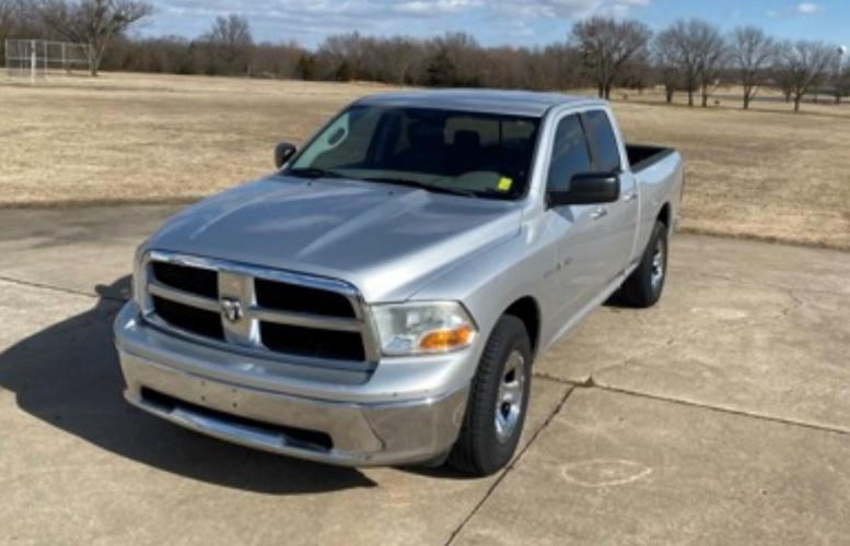 2010 Silver Dodge Ram 1500 Laramie Quad Cab 2WD (1D7RB1GT9AS) with an 5.7L V8 OHV 16V engine, 5-Speed Automatic transmission, located at 17760 Hwy 62, Morris, OK, 74445, (918) 733-4887, 35.609104, -95.877060 - Photo #0