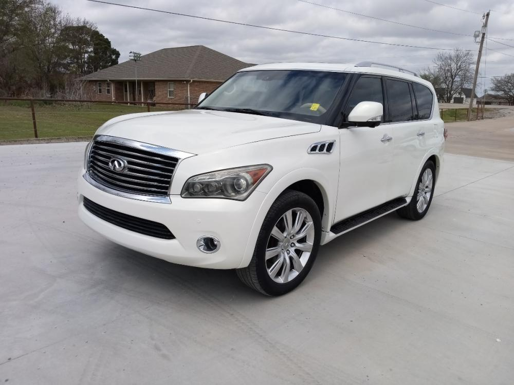 2011 WHITE /TAN Infiniti QX56 2WD (JN8AZ2NF8B9) with an 5.6L V8 DOHC 32V engine, 5-Speed Aut transmission, located at 17760 Hwy 62, Morris, OK, 74445, (918) 733-4887, 35.609104, -95.877060 - Photo #1